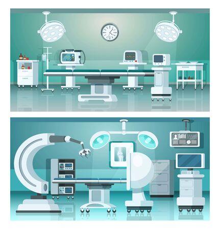 Hybridbetriebene isometrische Medizin-Krankenhaus-Operationssäle auf medizinischer Vektorillustration. Vektorgrafik