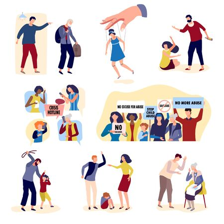 Collection of violence with people on character conflict hand drawn vector illustration isolated on white. Conflicts in family between parents and children, violence husband and wife, crisis hotline. 向量圖像