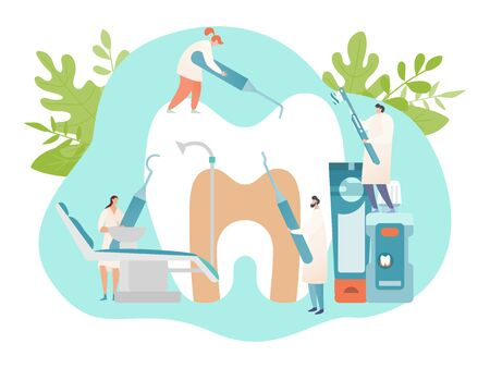 Dental office banner concept, oral hygiene and tooth care poster, tiny people with tools, vector illustration. Dentist cartoon character in medical clinic, dentistry checkup and healthcare treatment