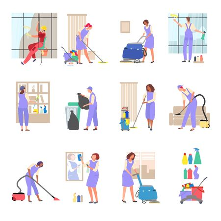 Young cleaner man, women work of clean with brush, rag on hand drawn vector illustration isolated on white. People cleaning widows, vacuuming, washed floor, detergent kit, throw garbage in container.  イラスト・ベクター素材