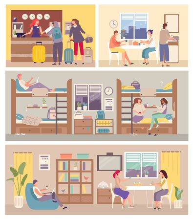 Hostel Interior for tourist. People settle in hostelry, living, sleeping, eating on hand drawn vector illustration. Hosteller study in academic year. Locate in bedroom, reception, cupboard, dining.