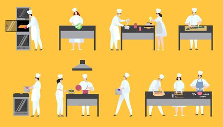 Women and man cook chef delicious dish in restaurant on cooky workplaces on hand drawn vector illustration. Professional chef people in uniform, cooking food, baking dessert, pastry, cake in pan, pot