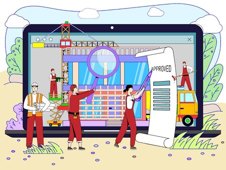 Architectural project approval concept, people cartoon characters engineering building, vector illustration. Tiny men and women sign document, technical inspection at construction site, flat style