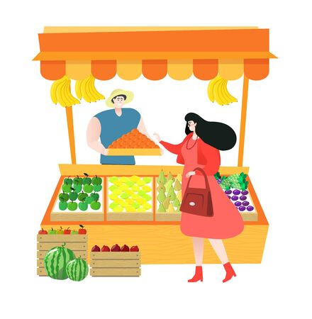 Local farm market fruit shop with fruit seller stand to sell fruit and customer shopping fresh fruits, vector illustration.