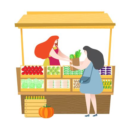 Saleswoman sale freshness vegetables customer in market isolated on white, illustration vector vegetarian concept, health lifestyle Ilustrace