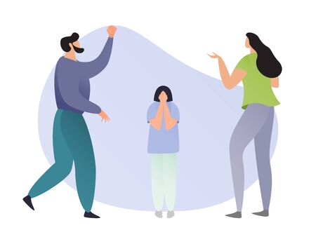 Angry parents scolding on his son or daughter, vector illustration. Family of father and mother with their child have a problem. They are angry on their kid. Relationships in family concept.