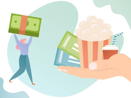Hand with ticket and popcorn offer entertainment for woman with money, vector illustration of ordering and booking in cinema or theatre. Flat design of purchasing invitation for event