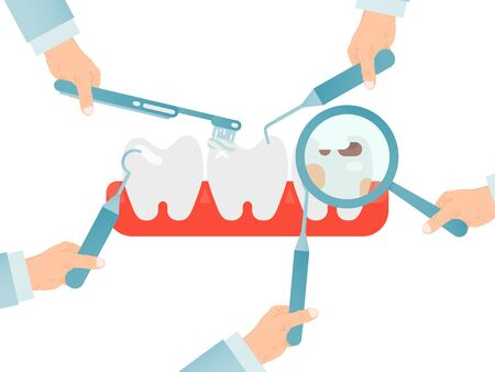 Hands with dentist instruments checking teeths isolated on white, vector illustration. Healthcare concept, caries and tooth decay Ilustração