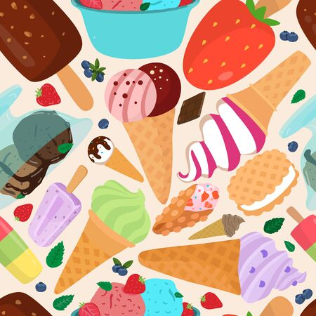 Seamless pattern of colorful types of ice cream, vector illustration of refreshing and delicious summer food. Nutrition concept