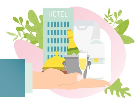Hotel service icons on human hand, isolated on white, vector illustration. Flat design of reception with all you need Ilustração