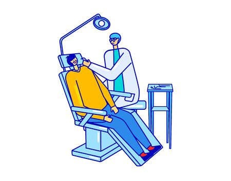 Dentist and patient who sitting on chair in dentistry, hospital isolated on white vector illustration of a flat design. Tooth examination and treatment. Healthcare background, medical examination of teeth.