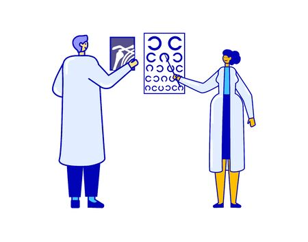 Traumatologist with x-ray and ophthalmologist with eye test showing people problems isolated on white, vector illustration. Linear flat doctor in uniform in clinic. Health care, professional help concept. Ilustracja