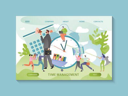 Time management concept, business people schedule planning, online website concept, vector illustration
