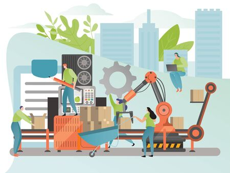 Industrial factory production process concept, people cartoon character in flat style, vector illustration. Men and women engineer working on conveyor belt assembly line. System automation development