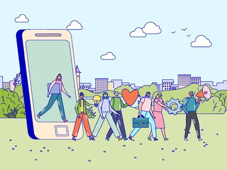 Loyalty referral program concept, happy people walking out of smartphone and following leader, vector illustration. Cheerful men and women cartoon characters in flat style. Customer recommendation