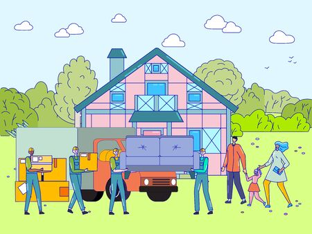 People moving to new house, happy family together buying real estate property, vector illustration. Smiling parents and child relocate to cottage home, delivery service workers carry couch furniture Stock Illustratie