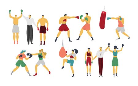 People are boxing, kickboxing, vector illustration. Boxer is training, beats punching bag, win sparring and competition. Set of sportsmen characters in flat style, isolated on white.