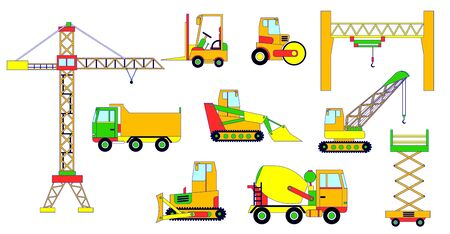 Builders equipment, vector illustration, construction machinery. Special commercial vehicles for building isolated on white, flat style. Crane, excavator, truck, tractor, bulldozer and concrete mixer.