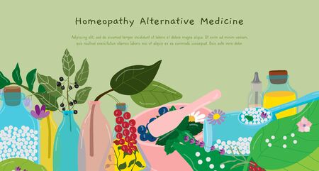 Homeopathy alternative medicine vector illustration. Cartoon flat pill capsule in spoon, green leaf herb or berry, vitamin plant for herbal medical pharmacy. Natural treatment concept background