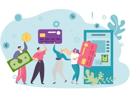 Concept convenient use plastic cards customers using an ATM. Vector illustration. People, men and women stand in line for cash transactions at an ATM. Availability in using different currencies