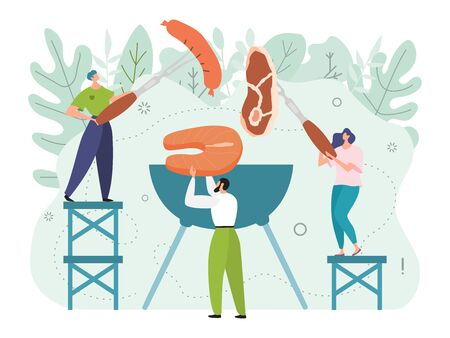 Concept of having a bbg party with friends outdoors on a good weekend and tasty cooked food, flat style vector illustration. Cooking barbecue on nature. Man and woman cook meat, fish steak and sausage