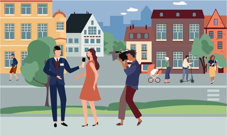 Journalist interviews celebrity vector illustration. Cartoon man character with microphone interviewing celebrity woman on street, cameraman, videographer shoots on camera. Tv journalism, mass media