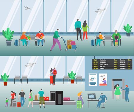 People in airport vector illustration. Cartoon flat man woman travel characters with baggage waiting flight, family passenger airline in airport terminal. Check in counter and security checkpoint set Ilustrace