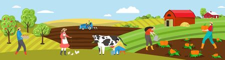 Farmer work on farm field vector illustration. Cartoon flat people working on farmland countryside landscape, man woman characters milk cow, feed chickens, plant vegetables. Agriculture background 일러스트