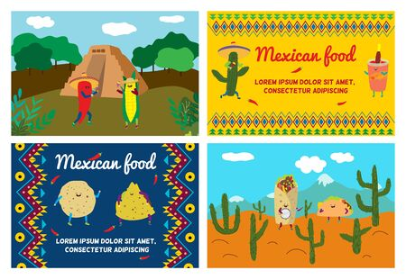 Mexican food vector illustration, cartoon cute taco, tortilla character from Mexico, happy burrito smiling and dancing advertising set