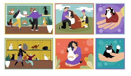 Adopt pet, dog or cat vector illustration. Cartoon happy couple characters, family people rescue, love and hug, adopting cute kitten puppy in animal shelter. Flat adoption homeless pet banner set Ilustração Vetorial