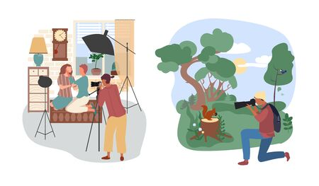 Studio or outdoor photographer people vector illustration. Cartoon flat woman character with camera make couple photo in studio interior, man take animal picture in summer forest set isolated on white