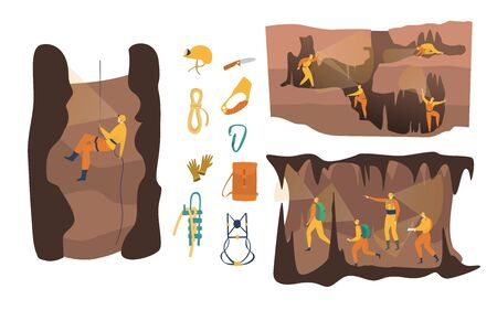 Cave speleology vector illustration, cartoon active speleologist character in adventure, people climbing, abseiling set isolated on white
