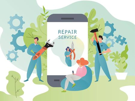 Repair service app concept vector illustration, cartoon flat tiny worker people with tools, woman using smartphone for technical assistance