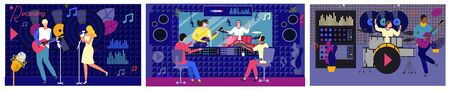 People record studio music vector illustration. Cartoon flat woman man singer characters singing, adult musician playing guitar drums, recording, listening audio sound in control room landing page set