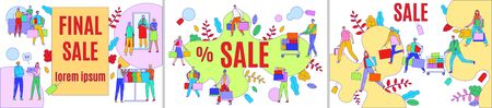 Final sale advertising vector illustration, advertisement of discount offer for people buyers with shopping cart or bag banner set