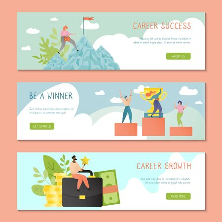 Career success banner template design with successful business people vector illustration in cartoon flat style. Growth and achievement concept. Businesswoman climbing mountain. Man, woman on podium.