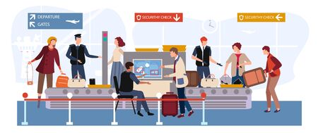 People in airport vector illustration. Cartoon flat man woman travel characters with baggage passing through scanner and security checkpoint, passengers airline in airport terminal waiting flight Vettoriali