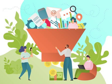 Sales funnel vector illustration. Sale, marketing business analysis and conversion optimisation process concept. Strategy for salable goods. People cartoon characters with laptop, graph, money, coin.