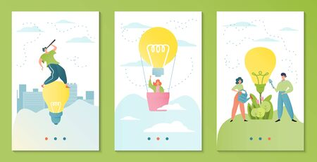 Teamwork business idea vector illustration. Businessmen work in team banner template. Teammates with lightbulb, watering can and scoop. Man cartoon character with telescope, woman on hot air ballon.