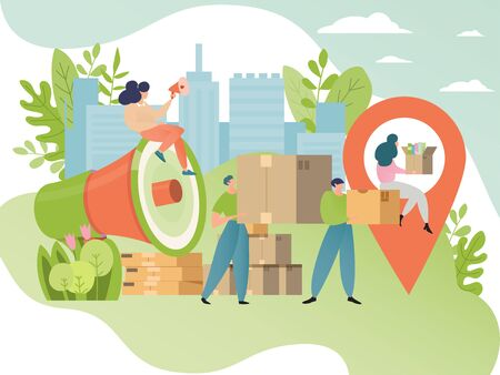 Moving concept vector illustration. People cartoon character move cardboard box. Movement to new place, relocation. Иллюстрация