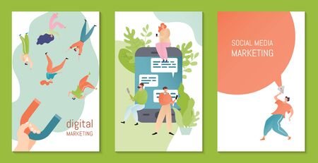 Social media, digital marketing vector illustration. Marketeer attract people cartoon characters with magnet. Marketing strategy concept banner. Man, woman with mobile phone send messages in internet.