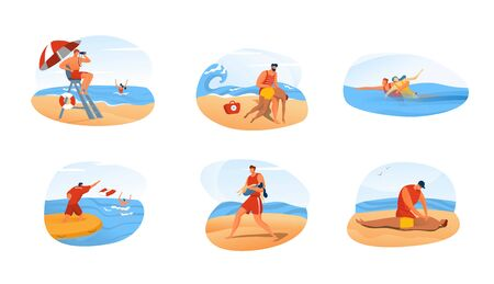 Lifeguard man rescue people, ocean beach emergency situation set, vector illustration. Safety at sea, guard saves drowning woman. First aid in dangerous situation, lifeguard cartoon characters help