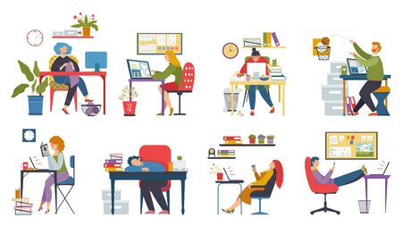 Procrastination at work, lazy people in office, set of funny cartoon characters, vector illustration