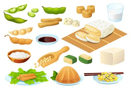 Soy food set isolated on white, vegetarian protein meal, healthy diet collection, vector illustration. Asian cuisine soy bean products, tofu cheese, vegan chinese menu. Organic legume culinary dishes Stock Illustratie