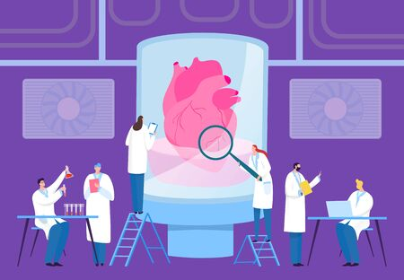 Scientist grow transplantation heart in laboratory, vector illustration. Specialist in white coats grow internal organ in large flask with liquid. Team work in computer, with chemical reagents. Vettoriali