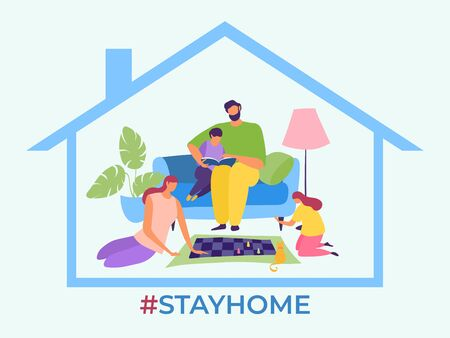 Stay home, family stop virus spread vector illustration. Parents and children spend quarantined time together. Mother play chess with daugther, father read book for son, self-isolation.