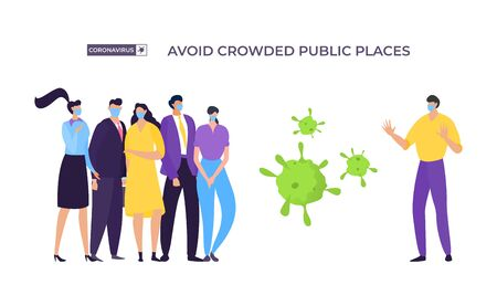 Avoid crowded place banner, coronavirus protection vector illustration. Masked man move away from group people to avoid infected with virus. Man and woman stand next to enlarged bacteria.