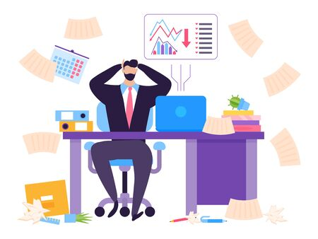 Default in stock market concept, collapse securities vector illustration. Man sitting at table, shocked by falling price his shares. Problem on stock market, broker work at risk, danger.