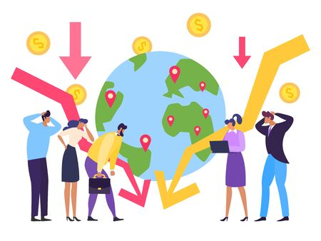 Global economy crisis, currency collapse concept vector illustration. Falling chart global economy, planet with marked places. Man and woman observe drop in production during quarantine.