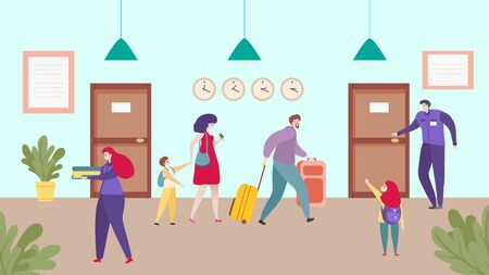 Hotel accommodation, happy family travel together, check in service people, vector illustration